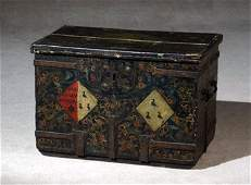 193: Spanish Baroque Iron Mounted and Decorated Wood Co