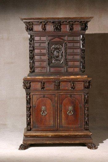 203: Italian Baroque Walnut Chest-On-Cabinet