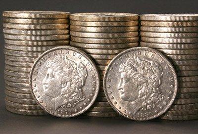 1001: Three Rolls of U.S. Morgan Silver Dollars