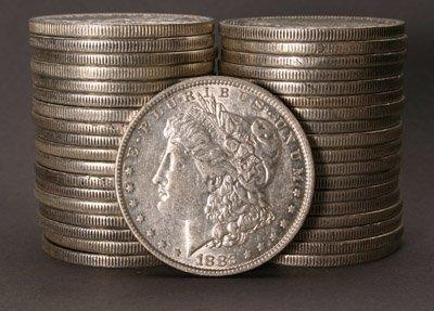1005: Two Rolls of U.S. Morgan Silver Dollars