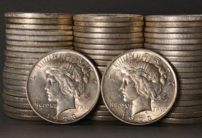 1006: Three Rolls of U.S. Peace-Type Silver Dollars