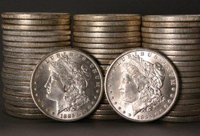 1010: Three Rolls of U.S. Morgan Silver Dollars