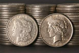 1012: Three Rolls of U.S. Morgan and Peace-Type Silver