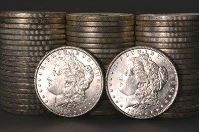 1013: Three Rolls of Morgan Silver Dollars