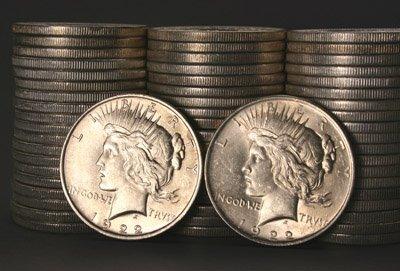 1016: Three Rolls of Peace-Type Silver Dollars