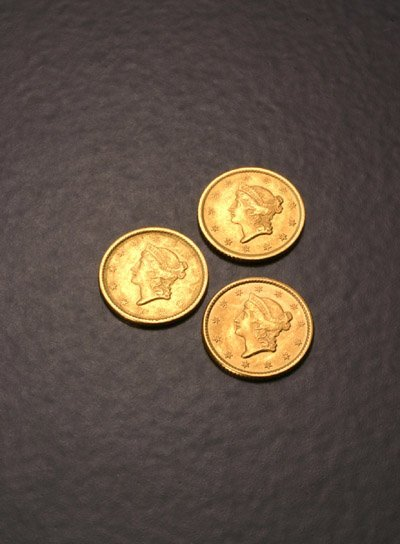 1017: Three Liberty Head-Type One-Dollar Gold Coins