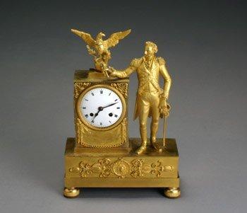 2112: Empire Ormolu 'George Washington' Mantel Clock Pr