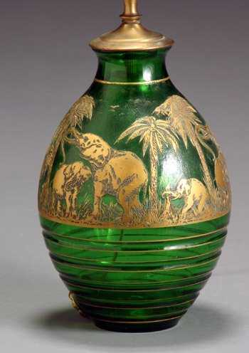 2215 Moser Cameo Glass Elephant Vase