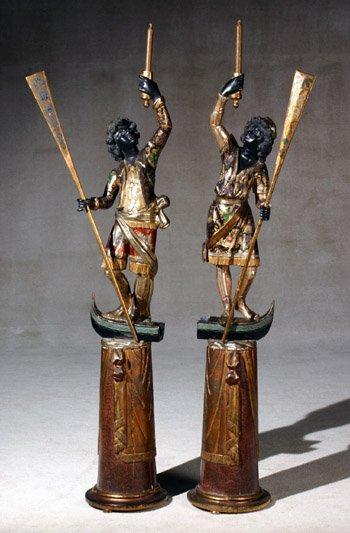 2244: Pair of Venetian Blackamoor Torchères