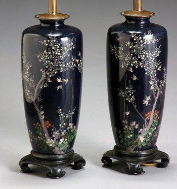 2320: Pair of Japanese Cloisonné Enamel Cobalt Blue Gro