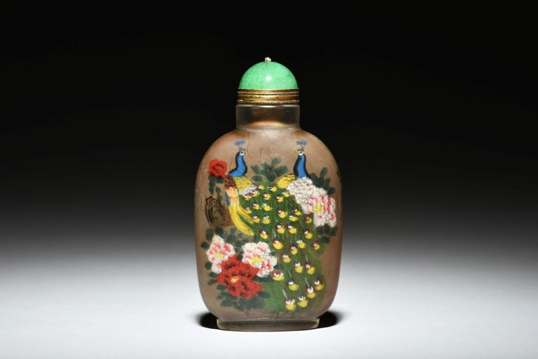 INSIDE PAINTED 'PEACOCK' SNUFF BOTTLE
