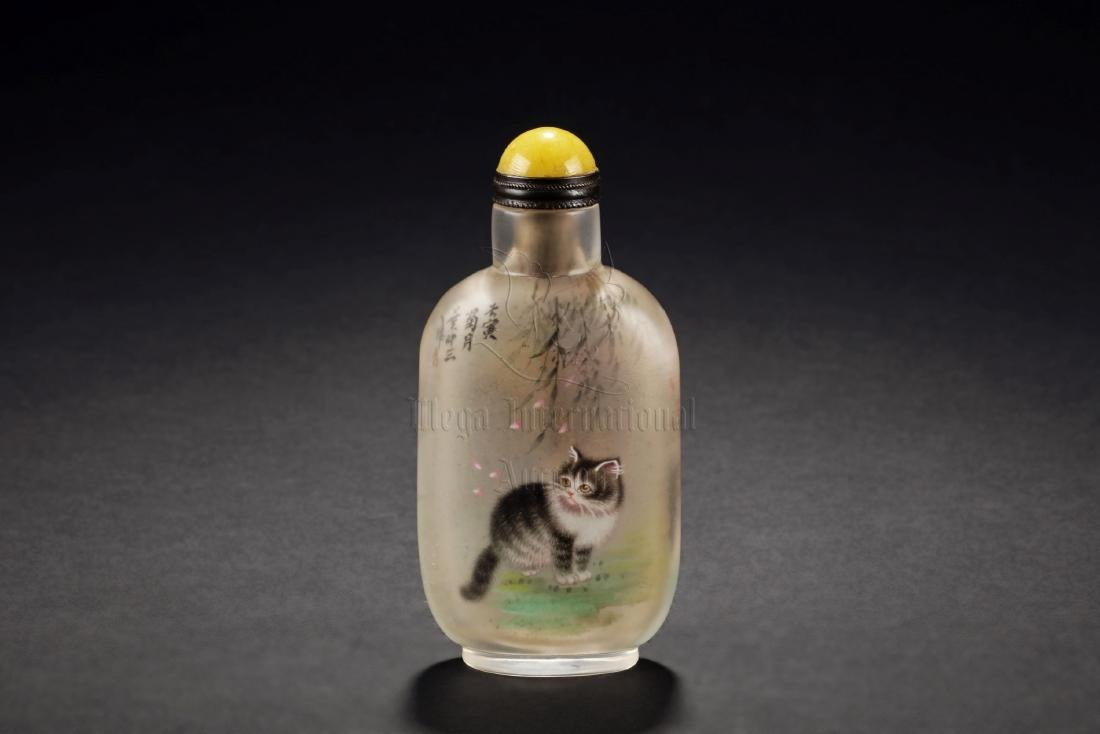 INSIDE PAINTED 'CATS' SNUFF BOTTLE