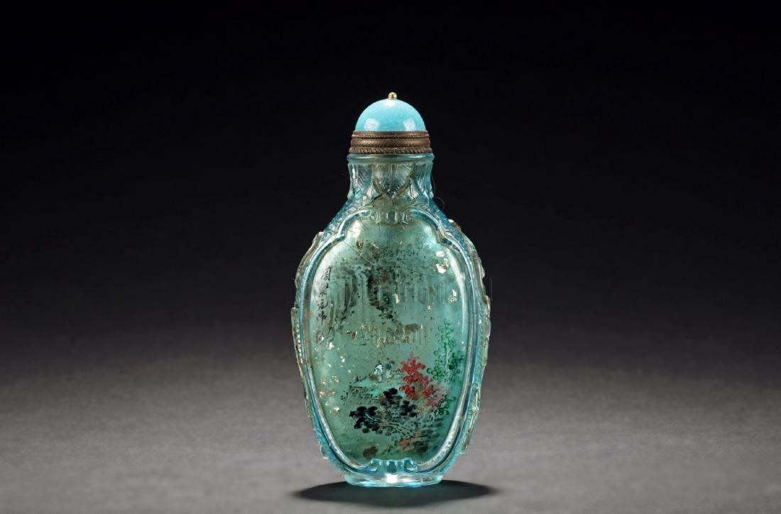 INSIDE PAINTED 'MOUNTAINS' SNUFF BOTTLE