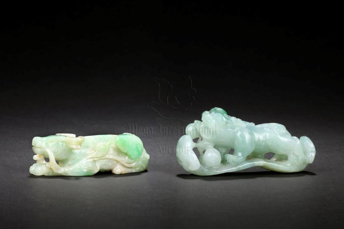 TWO 'MYTHICAL BEAST' JADEITE CARVINGS