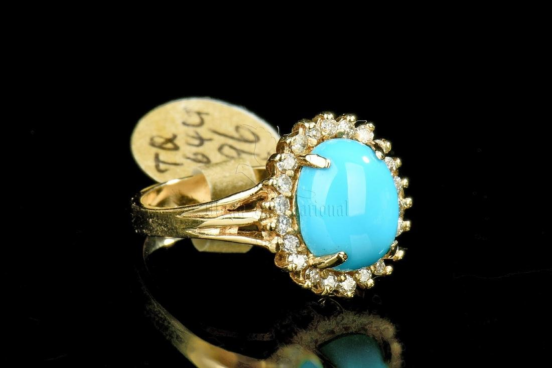 14K GOLD TURQUOISE RING WITH DIAMONDS