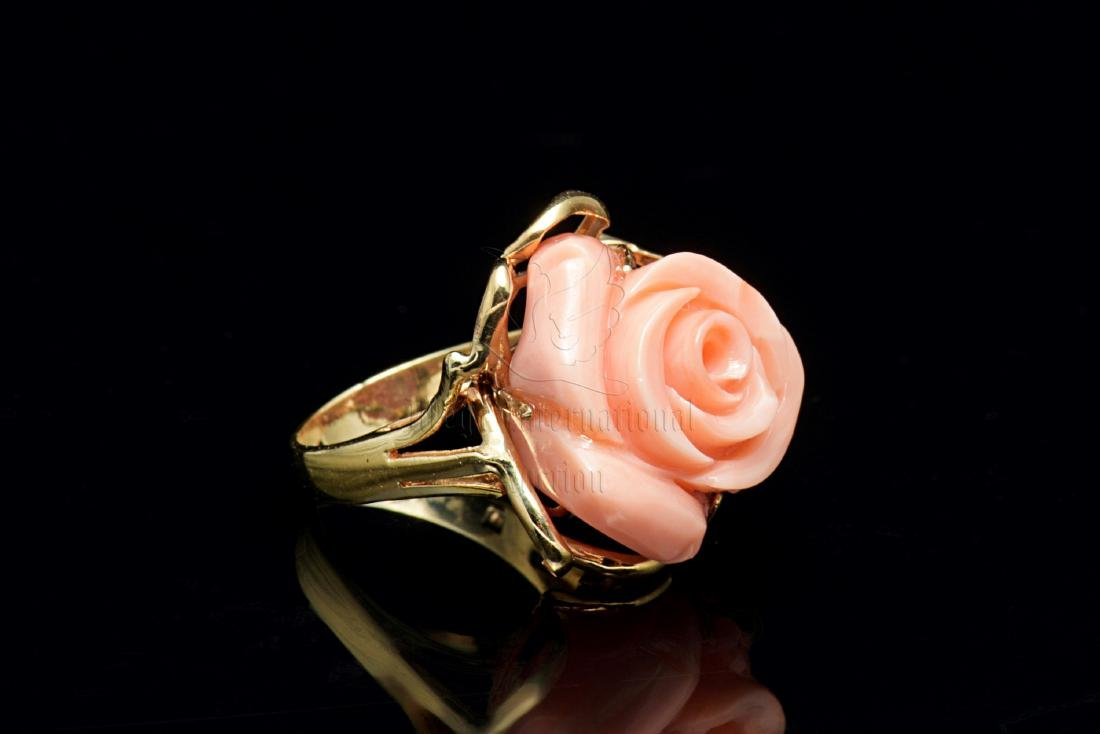 14K GOLD AND ANGEL SKIN CORAL FLOWER RING