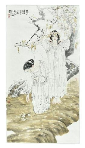 HE JIAYING: INK AND COLOR ON PAPER 'GIRLS' PAINTING