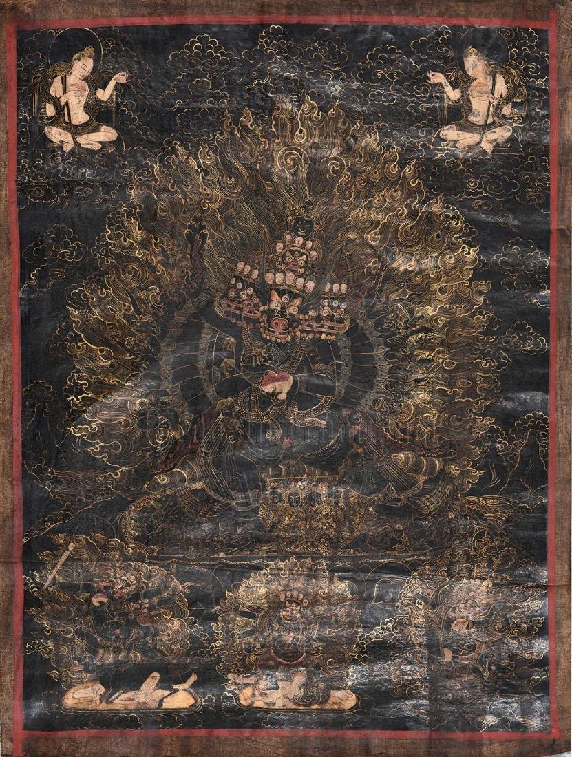 THANGKA OF A TIBETAN WRATHFUL DEITY