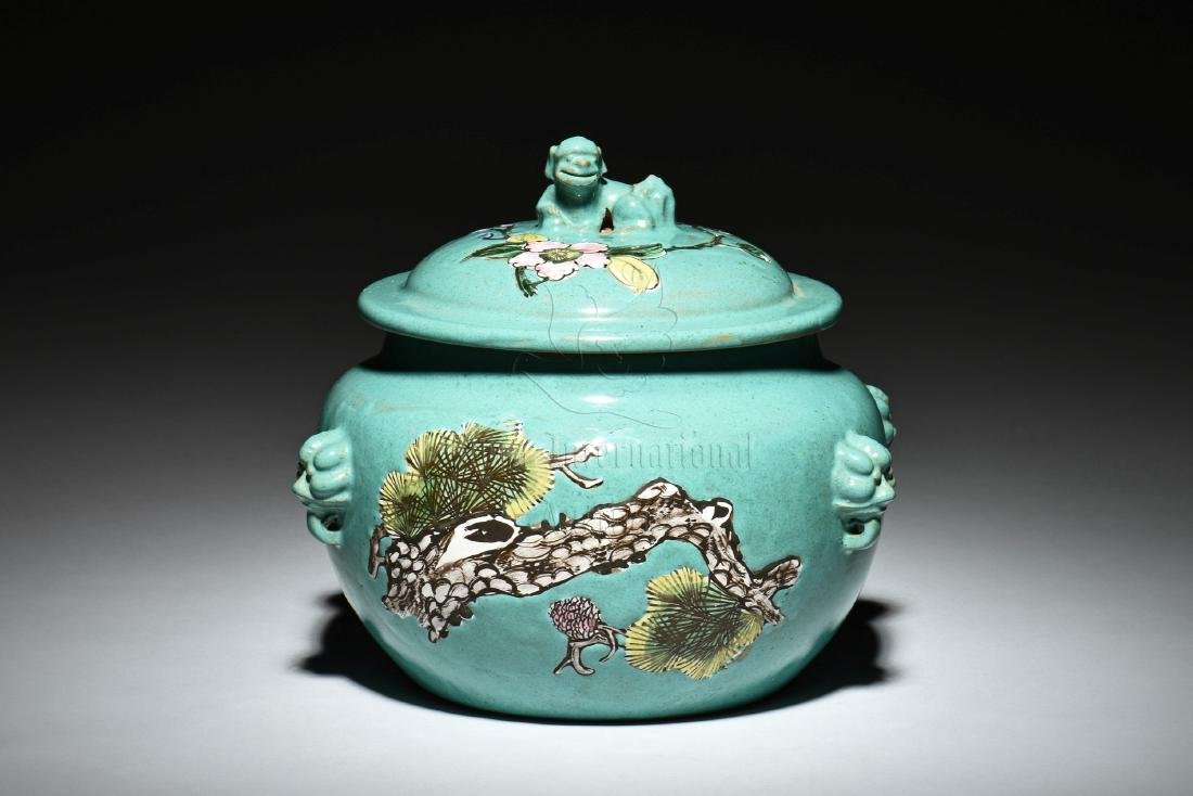 YIXING ZISHA PAINTED TEA JAR WITH COVER