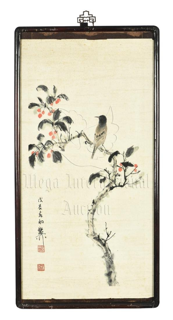 XIE ZHILIU: FRAMED INK AND COLOR ON PAPER PAINTING