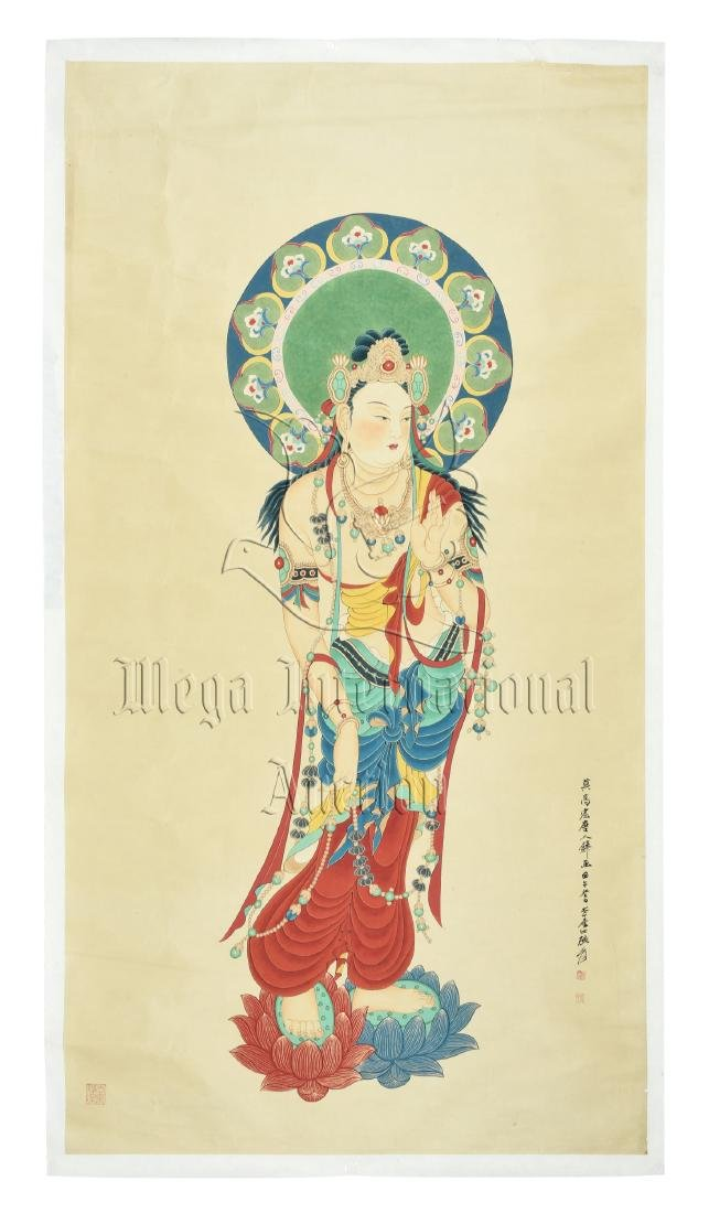 ZHANG DAQIAN: INK AND COLOR ON PAPER PAINTING 'GUANYIN'