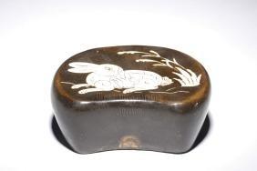Brown Glazed 'rabbit' Porcelain Pillow