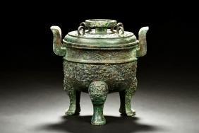 Archaic Bronze Cast Ritual Tripod Censer, Ge