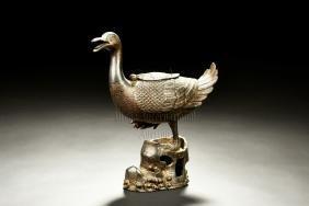 Bronze Cast 'duck' Incense Burner