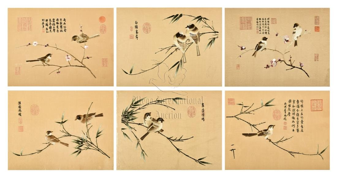 GROUP OF SIX SILK EMBROIDERED 'BIRDS' PANELS