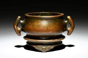 Bronze Cast Censer With Stand