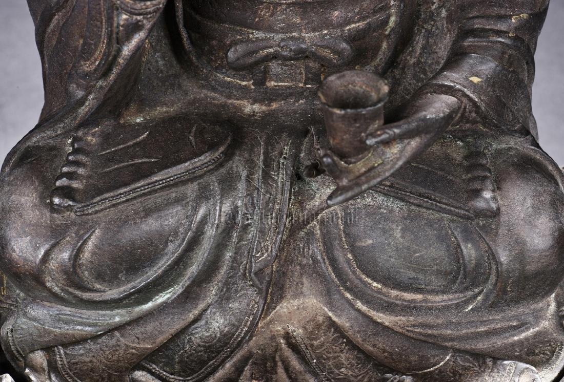 BRONZE CAST SEATED AVALOKITESHVARA FIGURE - 7