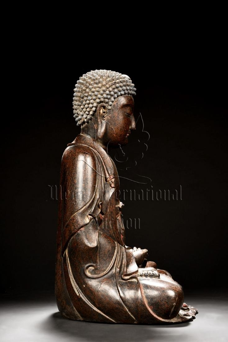 LACQUERED SEATED SHAKYAMUNI FIGURE - 2