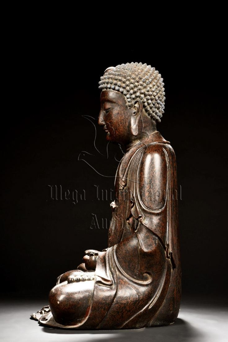 LACQUERED SEATED SHAKYAMUNI FIGURE - 4