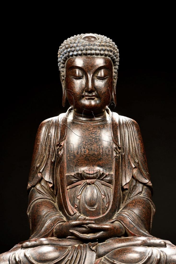 LACQUERED SEATED SHAKYAMUNI FIGURE - 7