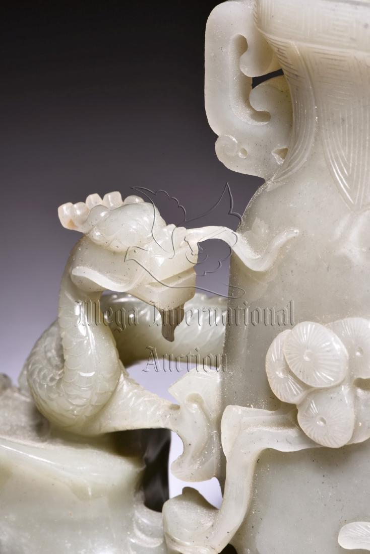 WHITE JADE CARVED 'DRAGON AND PHOENIX' FLOWER VASE - 7