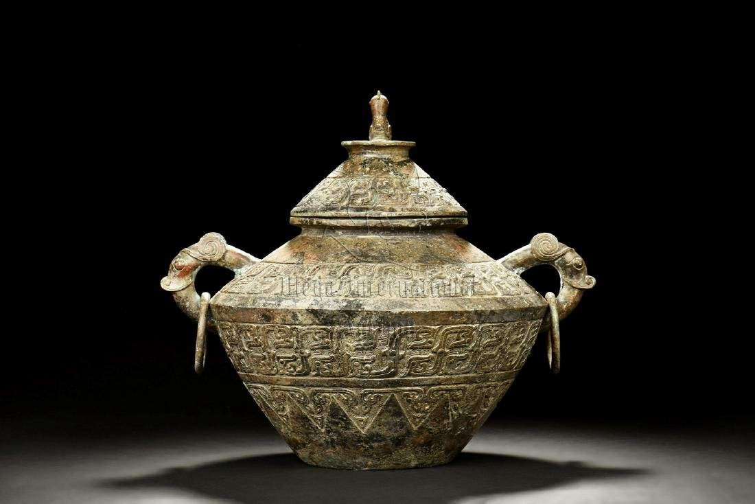 ARCHAIC BRONZE CAST JAR WITH HANDLES AND LID - 3