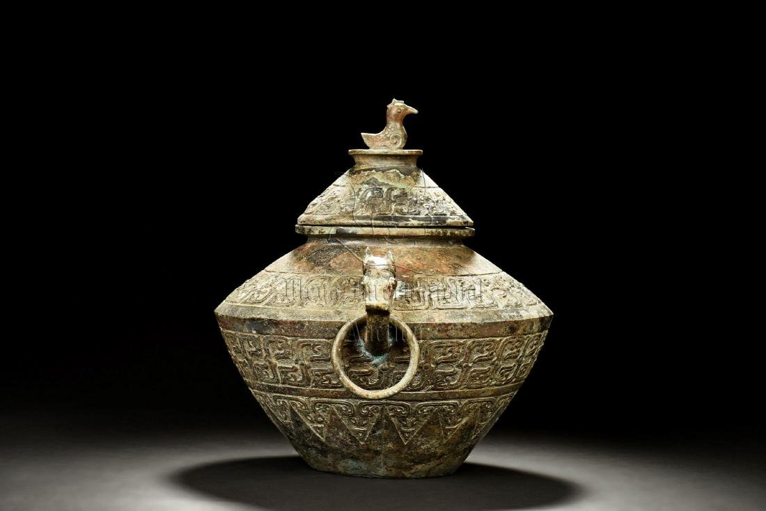 ARCHAIC BRONZE CAST JAR WITH HANDLES AND LID - 4