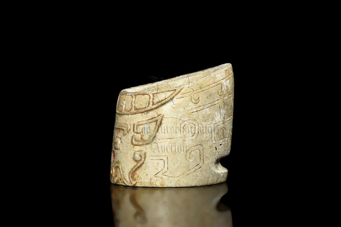 JADE CARVED TAOTIE MASK THUMB RING - 3