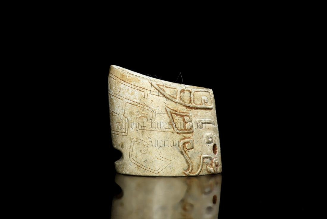 JADE CARVED TAOTIE MASK THUMB RING - 5
