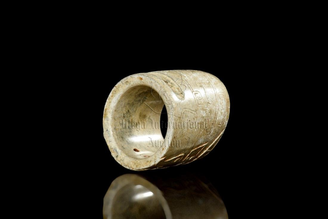 JADE CARVED TAOTIE MASK THUMB RING - 8
