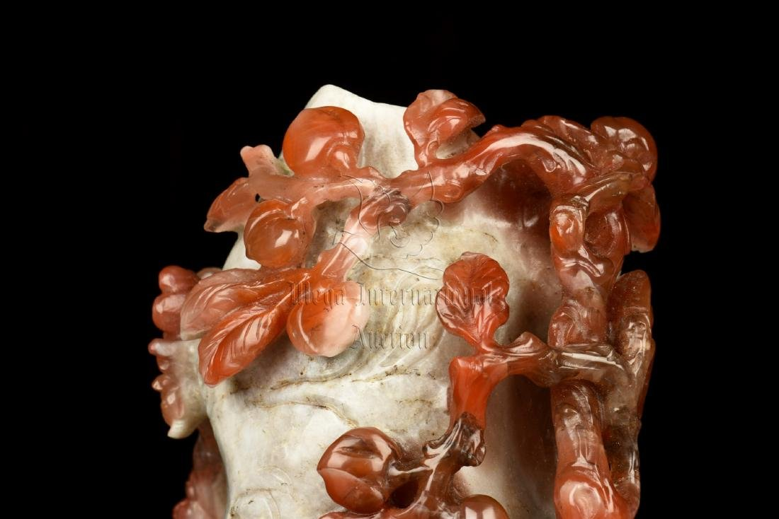 CLEVERLY CARVED NANHONG AGATE 'FLOWERS' FIGURE - 6
