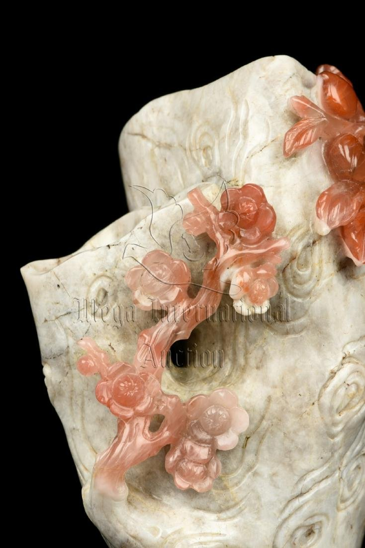 CLEVERLY CARVED NANHONG AGATE 'FLOWERS' FIGURE - 7