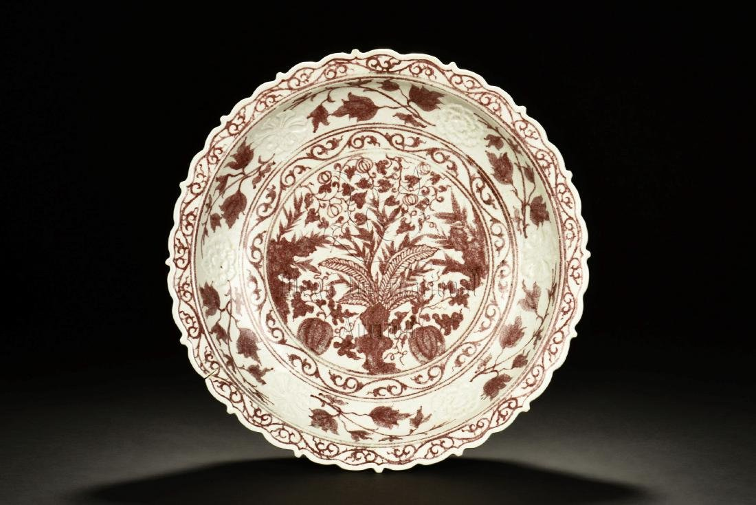 UNDERGLAZED RED 'FLOWERS' DISH
