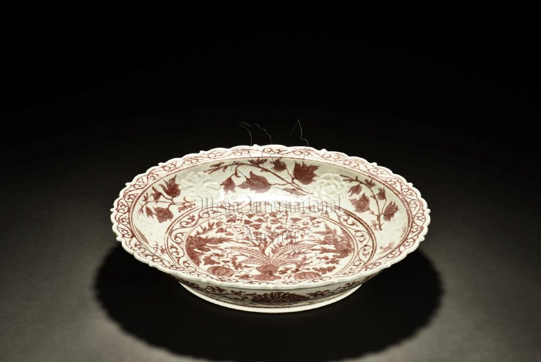 UNDERGLAZED RED 'FLOWERS' DISH - 2