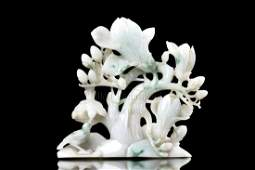CARVED JADEITE 'BIRDS AND FLOWERS' FIGURAL GROUP