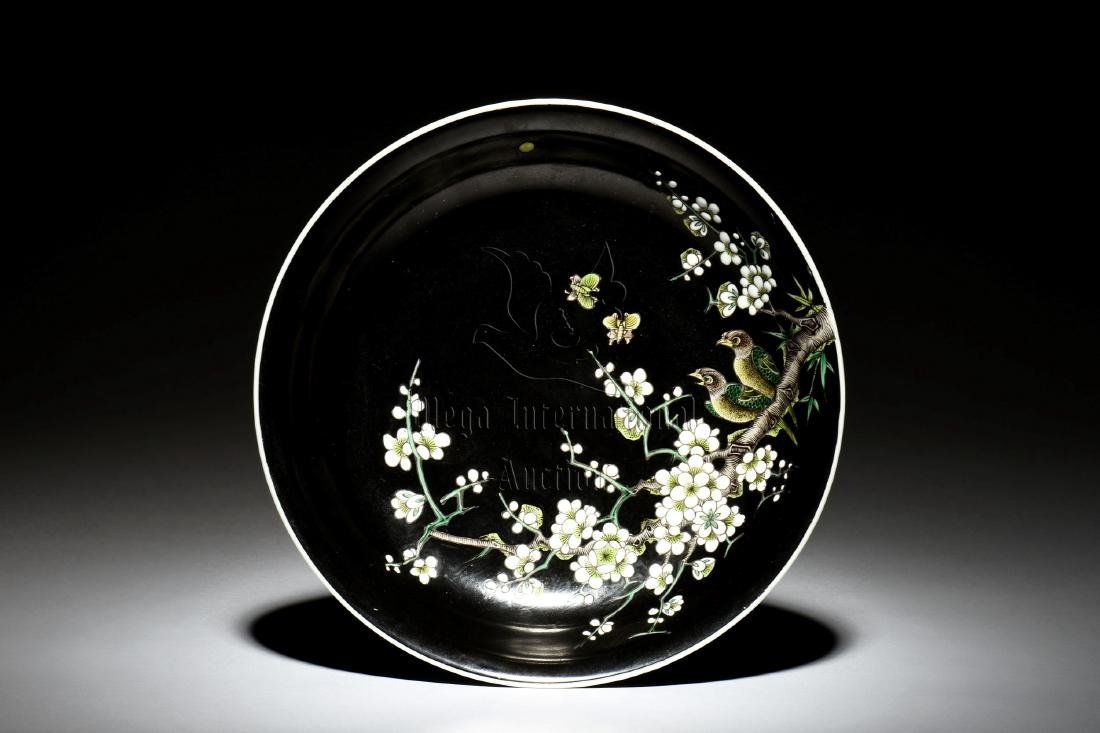 FAMILLE ROSE BLACK GROUND 'BIRDS & FLOWERS' DISH
