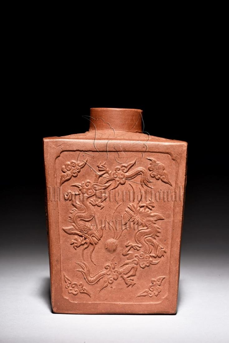 YIXING ZISHA STONEWARE RECTANGULAR 'DRAGONS' JAR - 2