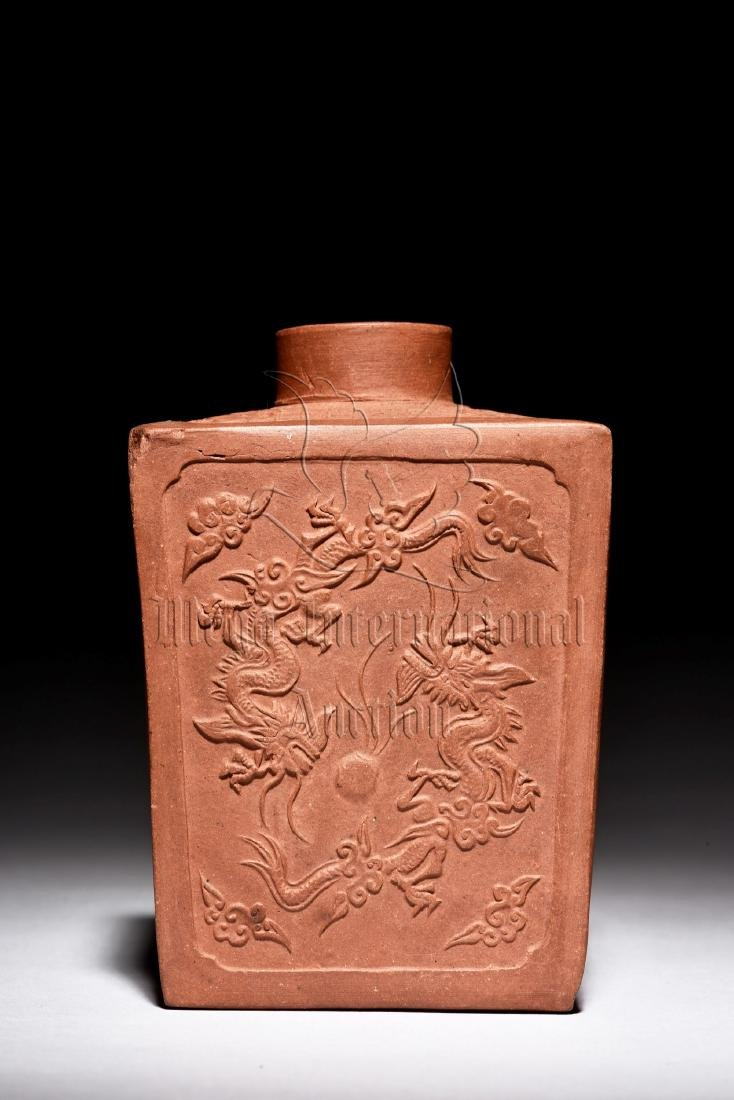 YIXING ZISHA STONEWARE RECTANGULAR 'DRAGONS' JAR - 3