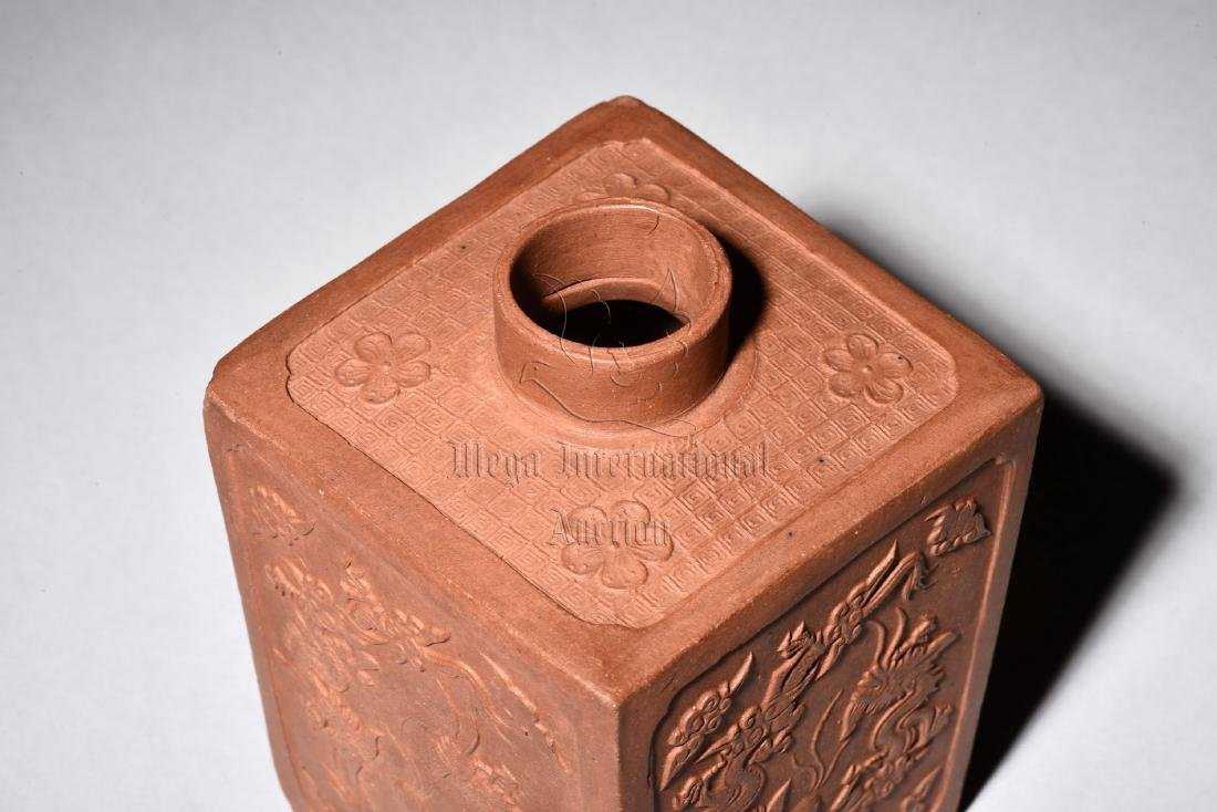 YIXING ZISHA STONEWARE RECTANGULAR 'DRAGONS' JAR - 6