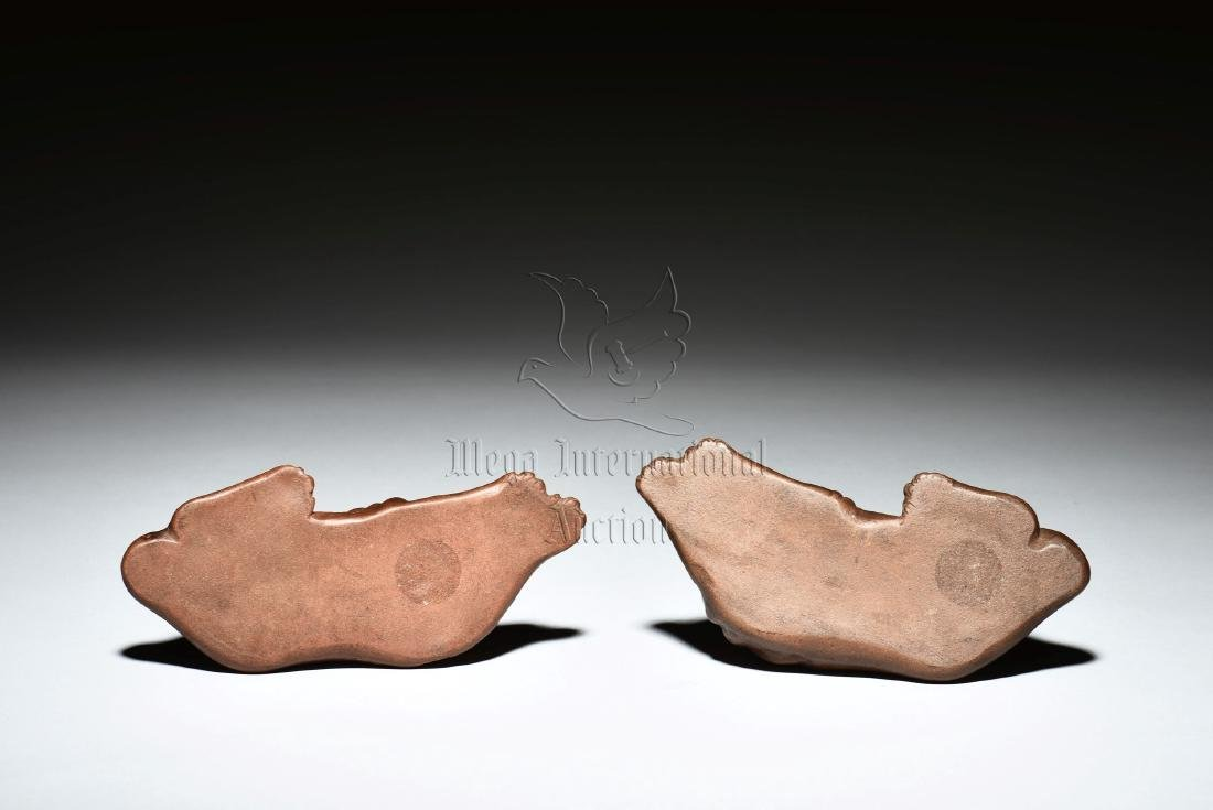 PAIR OF YIXING ZISHA DOG FIGURES WITH STANDS - 3